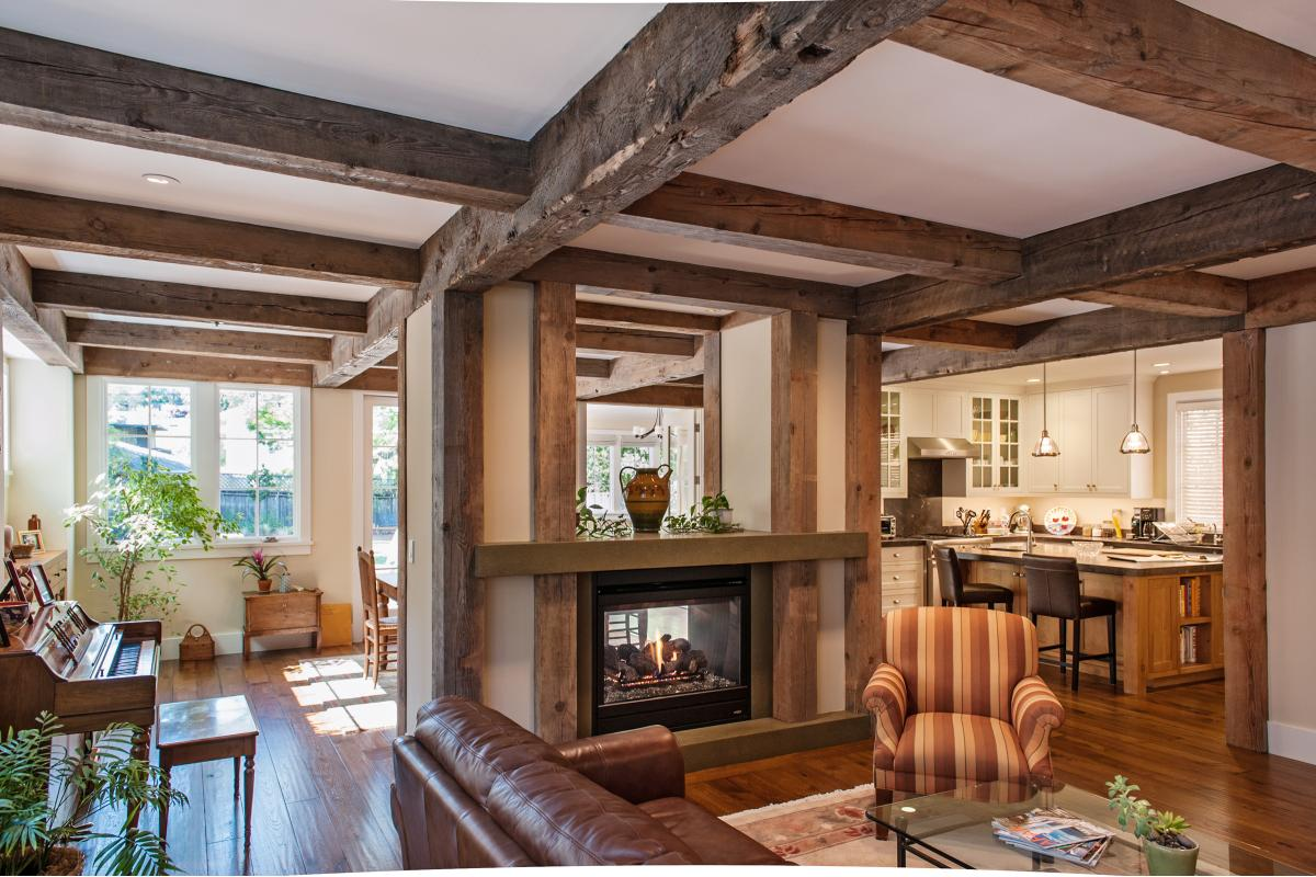 Wagstaff + Rogers Architects Craftsman Style Living Room Double Side Fireplace Reclaimed Beams Concrete Mantle Hearth Hand Scraped Hardwood Floor