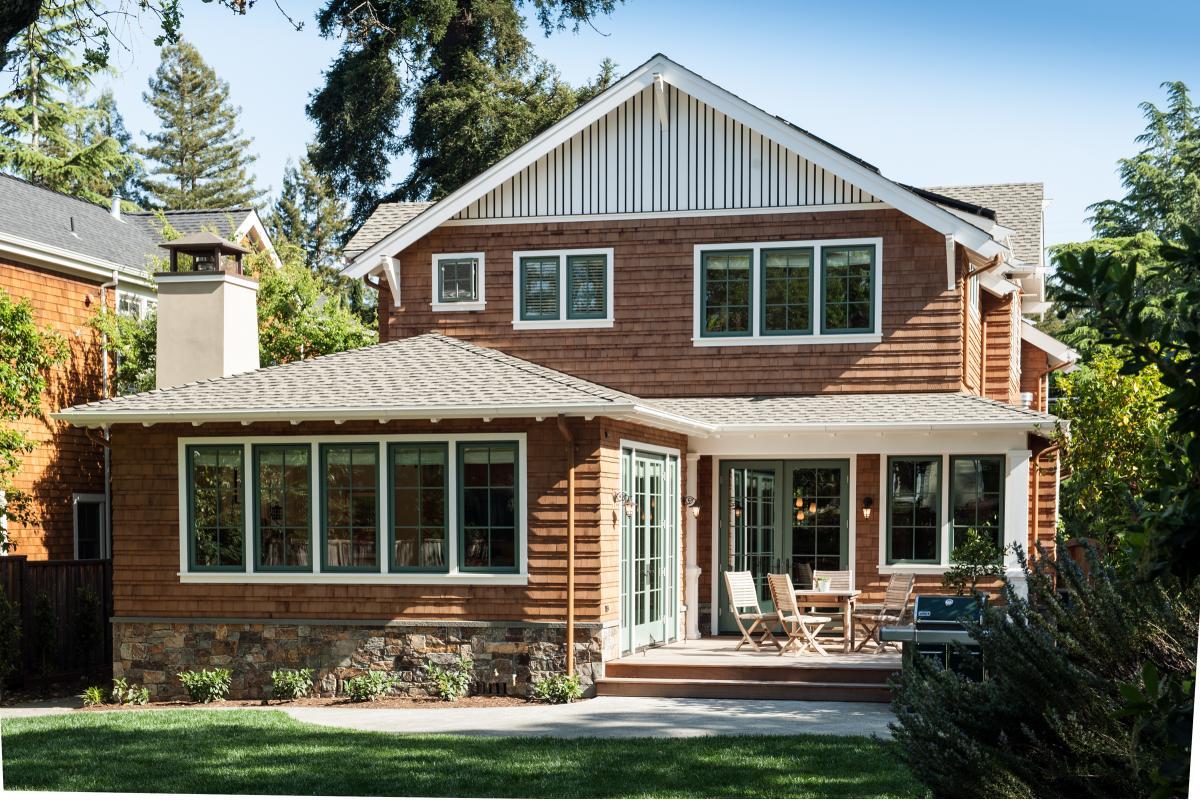 Wagstaff + Rogers Architects craftsman shingle siding Austin San Anselmo eave detail trellis trim