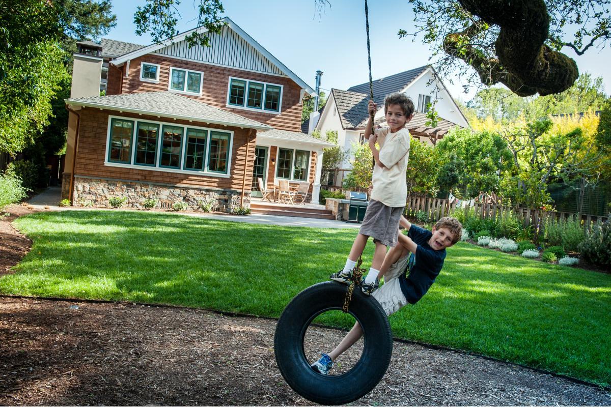 Wagstaff + Rogers Architects craftsman shingle siding Austin San Anselmo tire swing